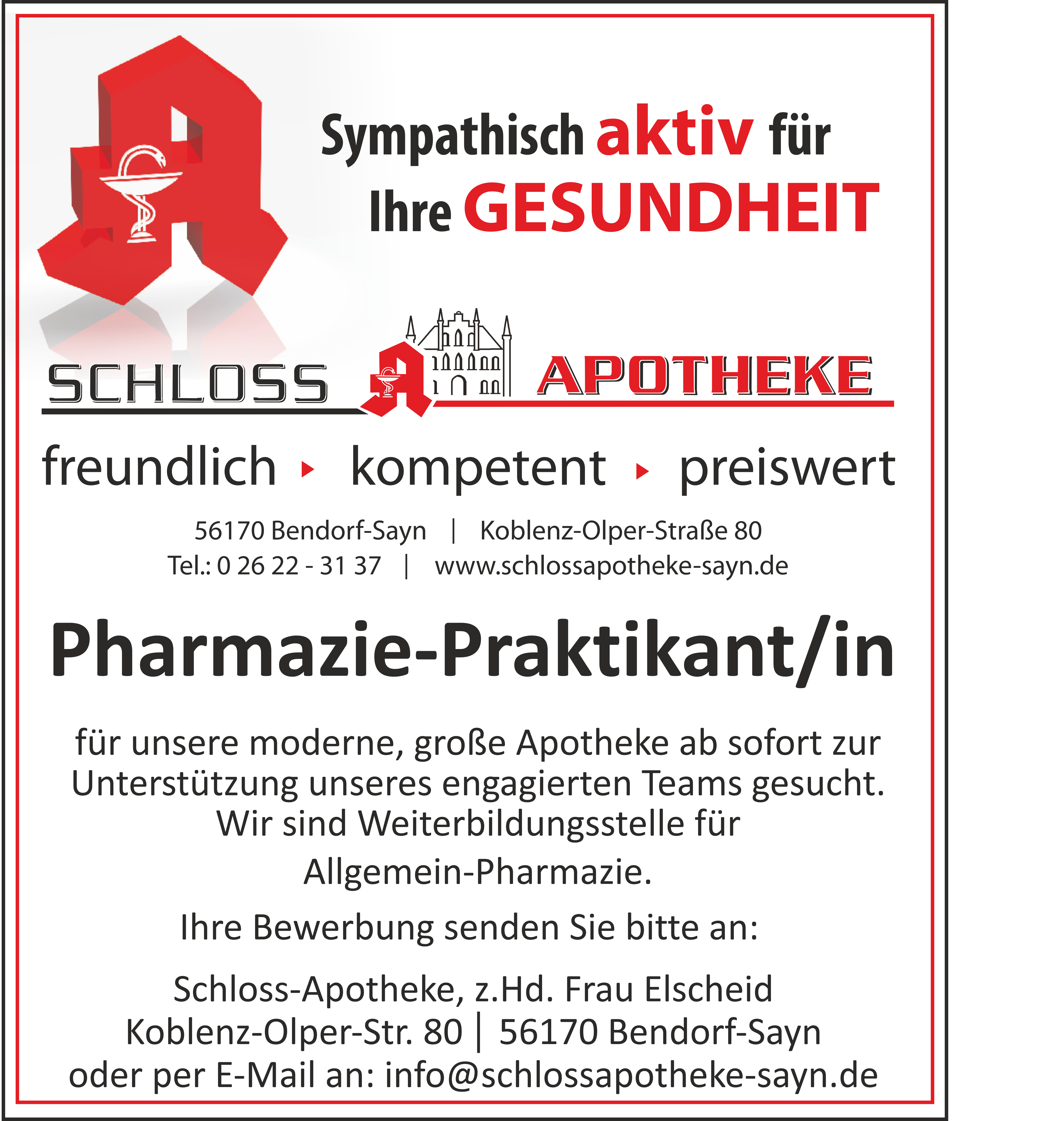 Stellenanzeige Pharmazie-Praktikant